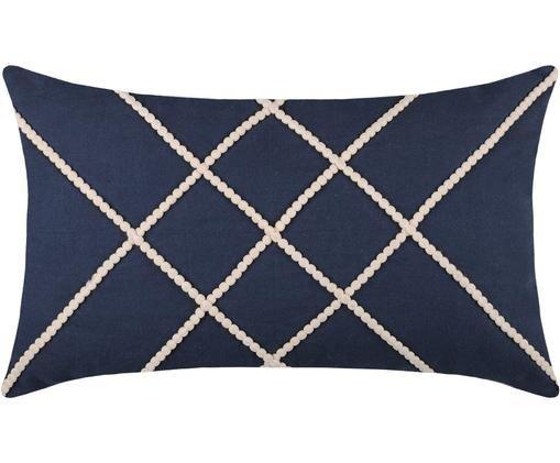 Cuscino con imbottitura Concarneau Stripe, Cotone, Blu scuro, Larg. 30 x Lung. 50 cm
