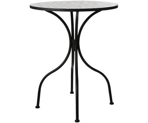 Balkontafel Verano met mozaïek, Frame: gepoedercoat metaal, Tafelblad: steenmozaïek, Grijs, wit, zwart, Ø 61 x H 76 cm