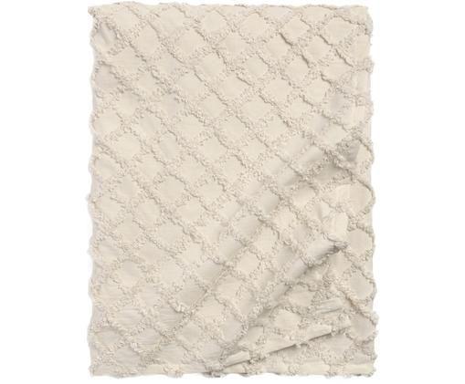 Narzuta z wypukłym wzorem Royal, 100% bawełna, Kremowobiały, S 180 x D 260 cm