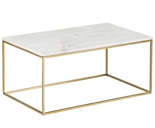 Marmor-Couchtisch Alys, Tischplatte: Marmor Naturstein, Gestell: Metall, pulverbeschichtet, Tischplatte: Weiß-grauer MarmorGestell: Goldfarben, glänzend, B 90 x T 55 cm