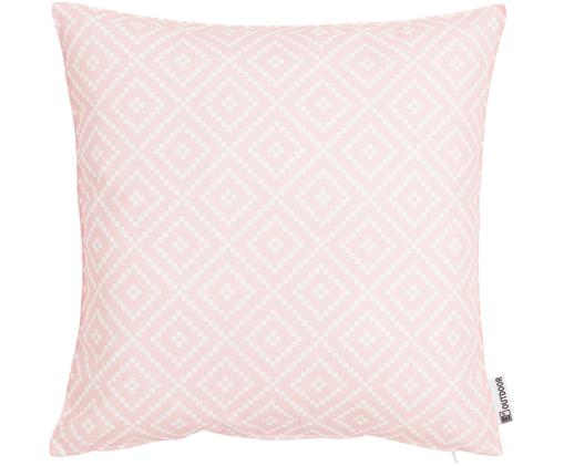Outdoor kussen Little Diamond, Roze, wit, 47 x 47 cm