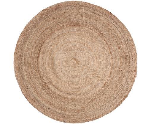 Alfombra redonda de yute Ural, Yute, Beige, Ø 100 cm (Tamaño XS)