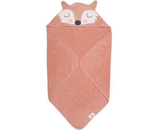 Ręcznik dla dzieci z bawełny organicznej Fox Frida, Bawełna organiczna, certyfikat GOTS, Blady różowy, biały, czarny, S 80 x D 80 cm