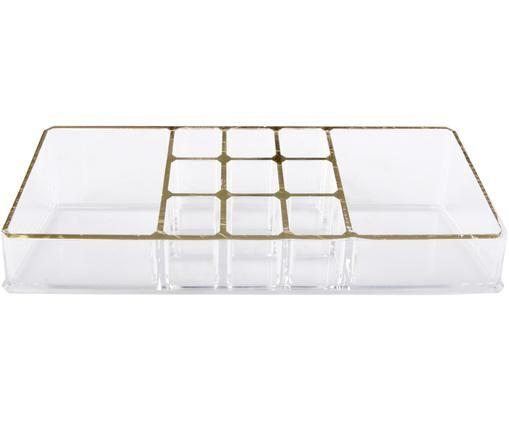 Organizer na kosmetyki Malla, Tworzywo sztuczne, Transparentny, odcienie złotego, S 22 x W 5 cm