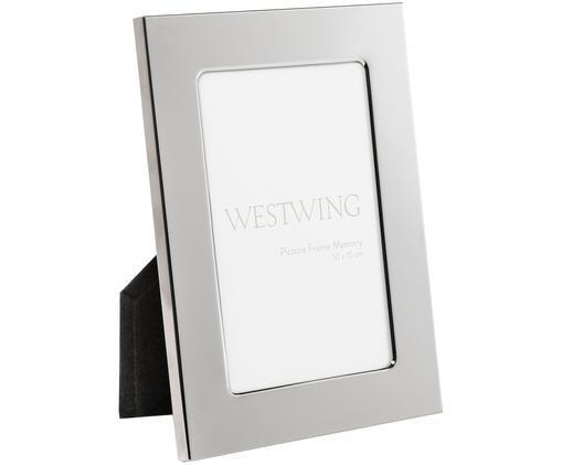 Bilderrahmen Memory, Rahmen: Metall, vernickelt, Front: Glas, spiegelnd, Rückseite: Holz, Samt, Silber, 10 x 15 cm