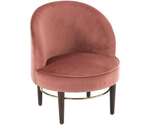Fotel z aksamitu Club Lounge, Tapicerka: blady różowy Nogi: drewno dębowe Ozdoba: odcienie złotego, błyszczący