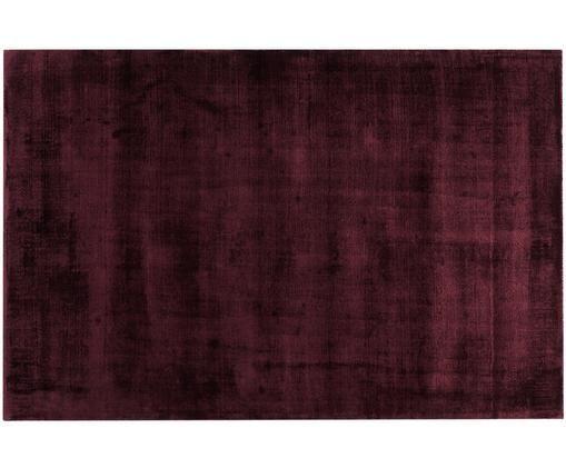 Tappeto in viscosa tessuto a mano Jane, Vello: 100% viscosa, Retro: 100% cotone, Borgogna, Larg. 120 x Lung. 180 cm (taglia S)