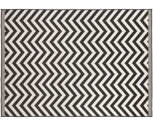 Dwustronny dywan wewnętrzny/zewnętrzny Palma, Czarny, kremowy, S 120 x D 170 cm (Rozmiar S)