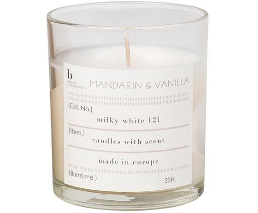 Candela profumata Mandarin (mandarino, vaniglia), Contenitore: vetro, Contenitore: trasparente Candela profumata: bianco, Ø 7 x A 8 cm