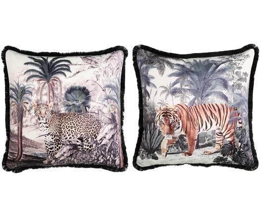 Set di 2 cuscini Yaak, con imbottitura, Rivestimento: poliestere, Nero, bianco, arancione, verde, blu, Larg. 50 x Lung. 50 cm