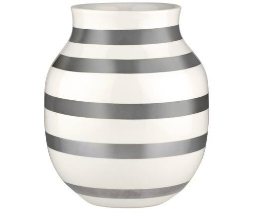 Vaso Omaggio fatto a mano, di medie dimensioni, Ceramica, Argento, bianco, Ø 17 x Alt. 20 cm
