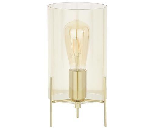 Lampe à poser Laurel, Abat-jour: ambré Pied de lampe: couleur laitonnée Câble: transparent