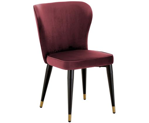Chaise rembourrée en velours Cleo, Bordeaux
