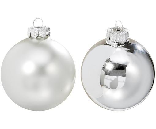 Weihnachtskugel-Set Delyn, 24-tlg., Glas, lackiert, Silberfarben, Ø 4 cm