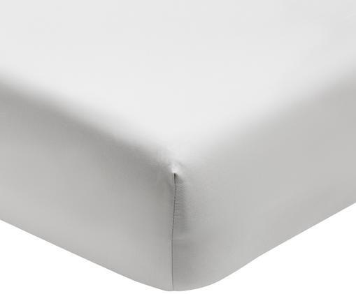 Lenzuolo con angoli in  raso di cotone Premium, Tessuto: raso, leggermente lucido, Grigio chiaro, Larg. 90 x Lung. 200 cm