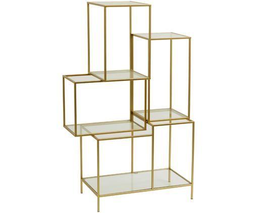 Goldfarbenes Metallregal Rack mit Glasböden, Goldfarben, Transparent