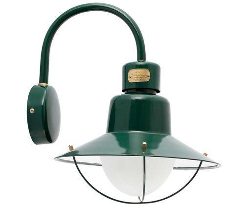 Design-Aussenwandleuchte Newport, Leuchte: Messing, lackiert, Grün, 28 x 40 cm