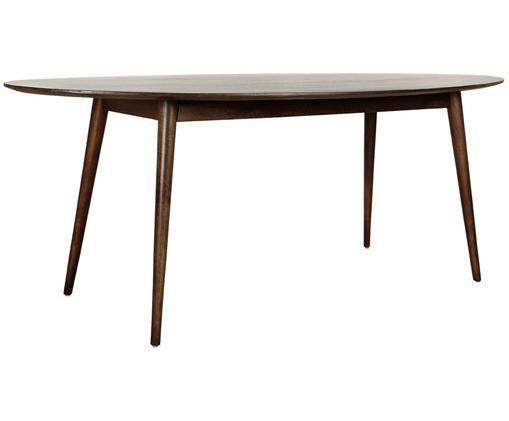 Owalny stół do jadalni z litego drewna Oscar, Masywne drewno mangowe, lakierowane, Ciemnybrązowy, S 203 x G 97 cm