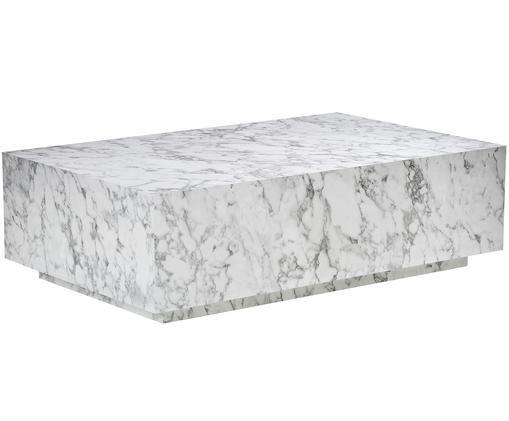 Tavolino da salotto bianco effetto marmo Lesley, Pannello di fibra a media densità (MDF) rivestito con foglio di melamina, Bianco marmorizzato, lucido, Larg. 120 x Prof. 75 cm