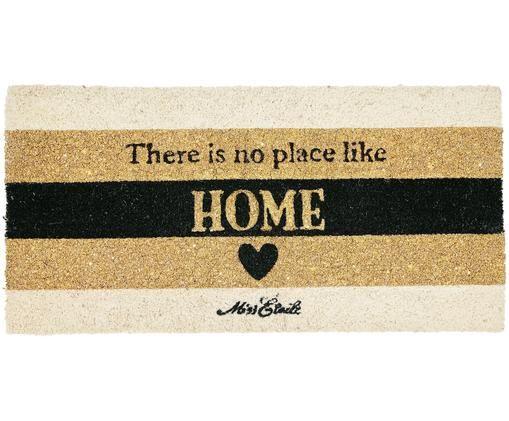 Paillasson No Place Like Home, Beige, noir, couleur dorée