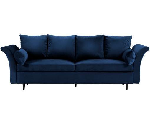 Sofa rozkładana z aksamitu Lola (3-osobowa), Tapicerka: aksamit poliestrowy, Nogi: drewno sosnowe, lakierowa, Ciemny niebieski, S 245 x G 95 cm