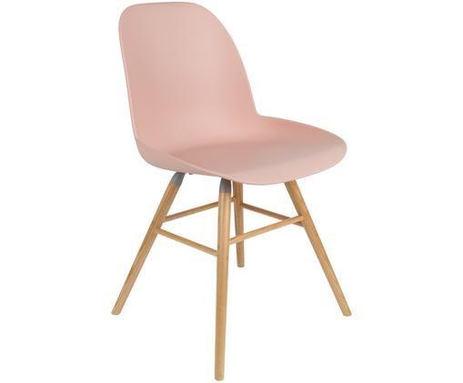 Stuhl Albert Kuip, Sitzfläche: 100% Polypropylen, Füße: Eschenholz, Sitzfläche: Rosa<br>Füße: Eschenholz, 49 x 82 cm