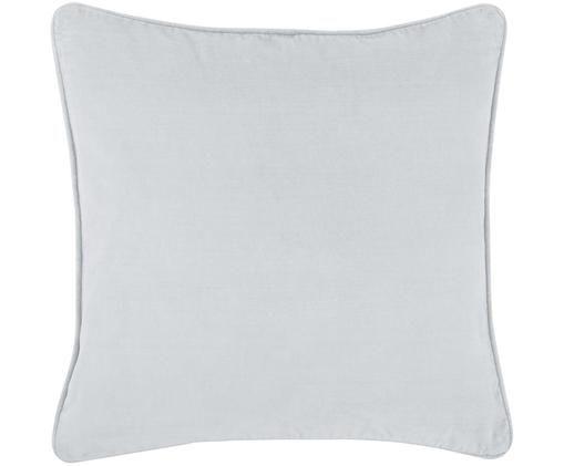 Poszewka na poduszkę z aksamitu Dana, 100% aksamit, Jasny szary, S 40 x D 40 cm