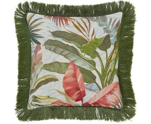 Housse de coussin avec franges Hilda, Multicolore Franges: vert foncé