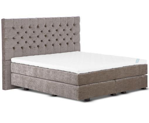 Łóżko kontynentalne z aksamitu premium Phoebe, Nogi: lite drewno bukowe, lakie, Taupe, 140 x 200 cm