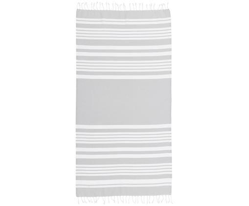 Fouta z frędzlami Stripy, Bawełna Bardzo niska gramatura, 185 g/m², Jasnoszary, biały, S 95 x D 175 cm
