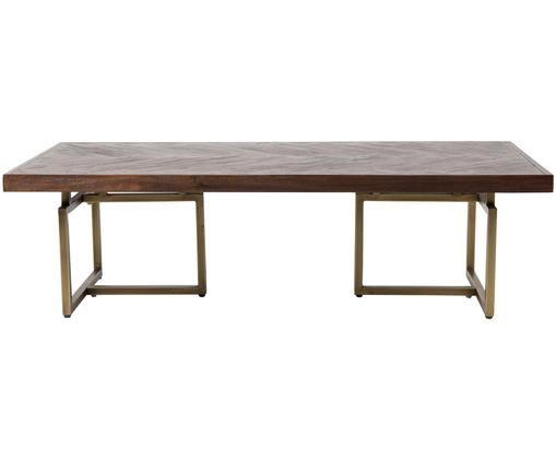 Fischgrät-Couchtisch Class mit Akazienholzfurnier, Tischplatte: Mitteldichte Holzfaserpla, Beine: Stahl, beschichtet, Braun, 120 x 35 cm
