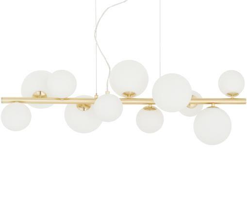 Glaskugel-Pendelleuchte Molekyl, Weiß, Messing, 85 x 26 cm