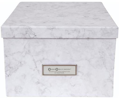 Pudełko do przechowywania Gustav, Biały, marmurowy, S 30 x W 15 cm