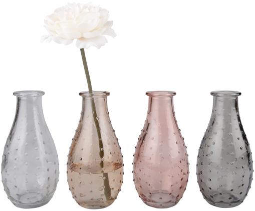 Set 4 vasi Leona, Vetro, Trasparente, marrone, rosa, grigio, Ø 8 x Alt. 14 cm