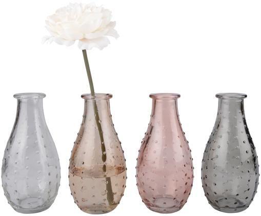Kleines Vasen-Set Leona aus Glas, 4-tlg., Glas, Transparent, Braun, Rosa, Grau, Ø 8 x H 14 cm