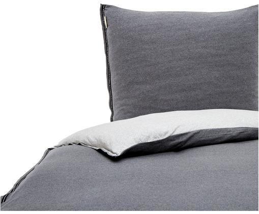 Džersejová obojstranná posteľná bielizeň so vzorom rybej kosti Casual Beauty, Antracitová, svetlosivá