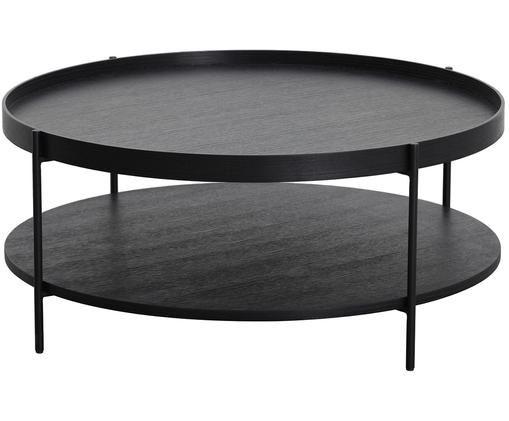 Duży stolik kawowy z półką Renee, Blat: płyta pilśniowa średniej , Stelaż: metal malowany proszkowo, Blaty: czarny Stelaż: czarny, matowy, Ø 90 x W 39 cm