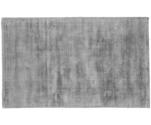 Tappeto in viscosa tessuto a mano Jane, Vello: 100% viscosa, Retro: 100% cotone, Grigio, Larg. 90 x Lung. 150 cm (taglia XS)