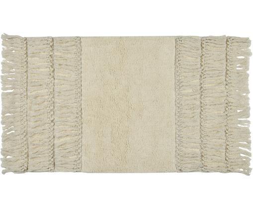 Dywanik łazienkowy z frędzlami Ivana, Bawełna, Kremowy, S 50 x D 80 cm