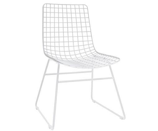 Design-Stuhl Wire aus Metall, Metall, pulverbeschichtet, Weiß, 47 x 54 cm