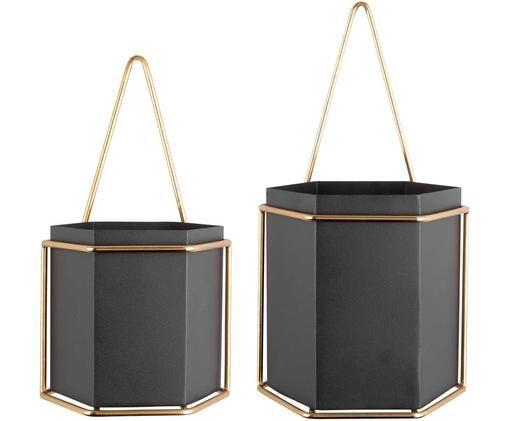 Set 2 portavasi pensili Hexagon, Metallo rivestito, Nero, ottonato, Diverse dimensioni