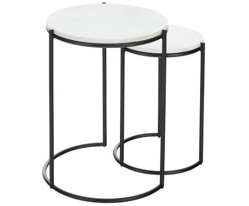 Set 2 tavolini in marmo Ella, Ripiani: pietra naturale di marmo, Struttura: metallo verniciato a polv, Ripiani: marmo bianco Struttura: nero opaco, Diverse dimensioni