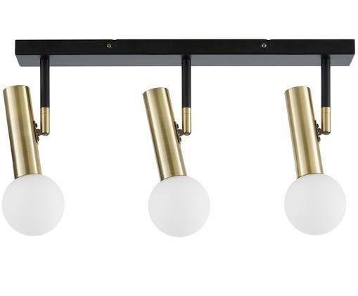 Plafonnier LED en métal Wilson, Rosace: noir, mat Douilles: couleur laitonnée Abat-jour: blanc