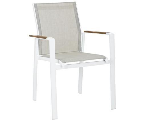 Krzesło ogrodowe z podłokietnikami do układania w stos Kubik, Stelaż: aluminium malowane proszk, Biały, greige, drewno naturalne, S 57 x G 62 cm