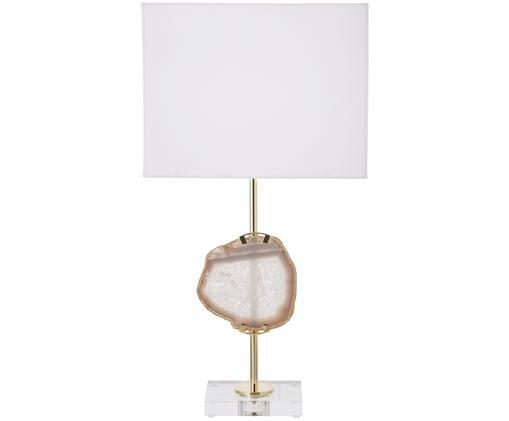 Lampe à poser Treasure, Transparent, couleur dorée, agate beige Abat-jour: blanc