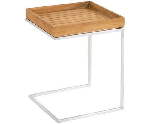 Balkon-Tablettisch Pizzo mit Teakholzplatte, Tischplatte: Massives Teakholz, geölt, Gestell: Stahl, feuerverzinkt, Teakholz, Stahl, B 40 x T 40 cm