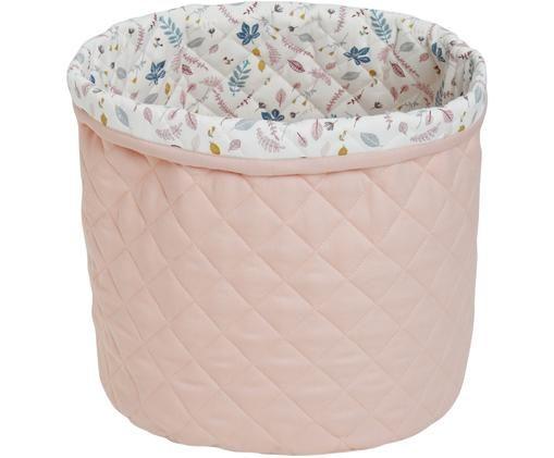 Cesta Pressed Leaves, Exterior: algodón orgánico, Exterior: rosa Interior: crema, rosa, azul, gris, Ø 30 x Al 33 cm