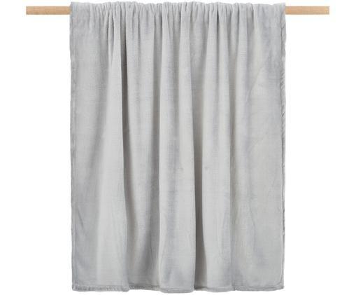 Weiches Fleece-Plaid Doudou in Grau, Polyester, Grau, 130 x 160 cm