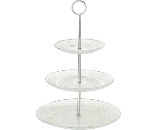Fuente 2 pisos Relief, Estante: vidrio, Transparente, Ø 25 x Al 35 cm