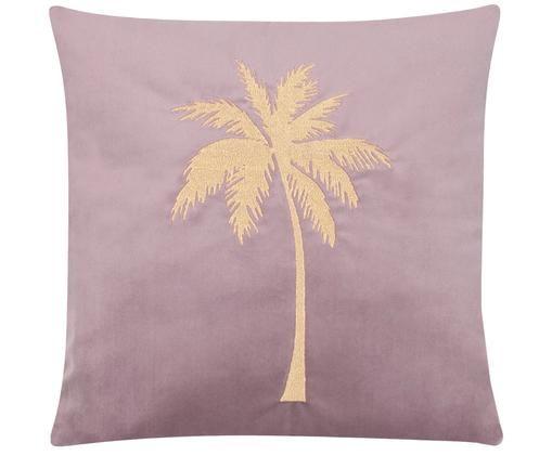 Glanzende fluwelen kussenhoes Palmsprings met borduurwerk, 100% polyester fluweel, Mauve, goudkleurig, 40 x 40 cm